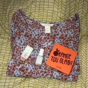 H&M Size 16 Blue and Orange Floral Top